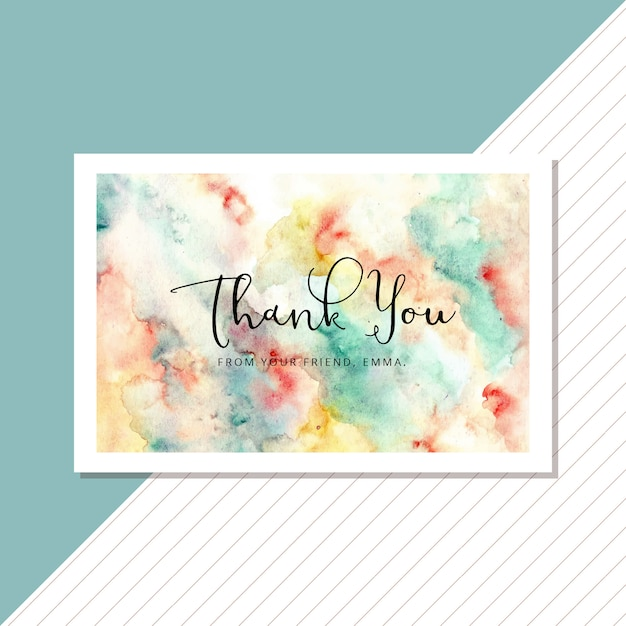 Cartão de agradecimento com fundo aquarela colorido abstrato Vetor Premium