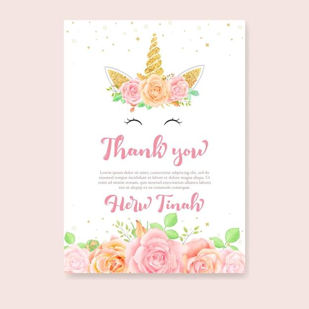 Cartão de agradecimento com unicórnio e floral rosa Vetor Premium
