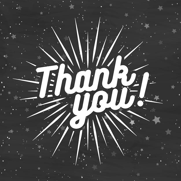 Cartão de agradecimento em fundo preto com estrelas. ilustração Vetor Premium