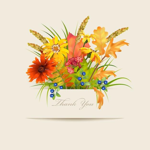 Cartão de agradecimento floral com flores diferentes e banner de papel Vetor Premium