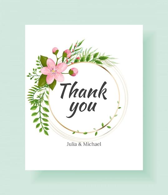Cartão de agradecimento floral para artigos de papelaria de casamento Vetor Premium