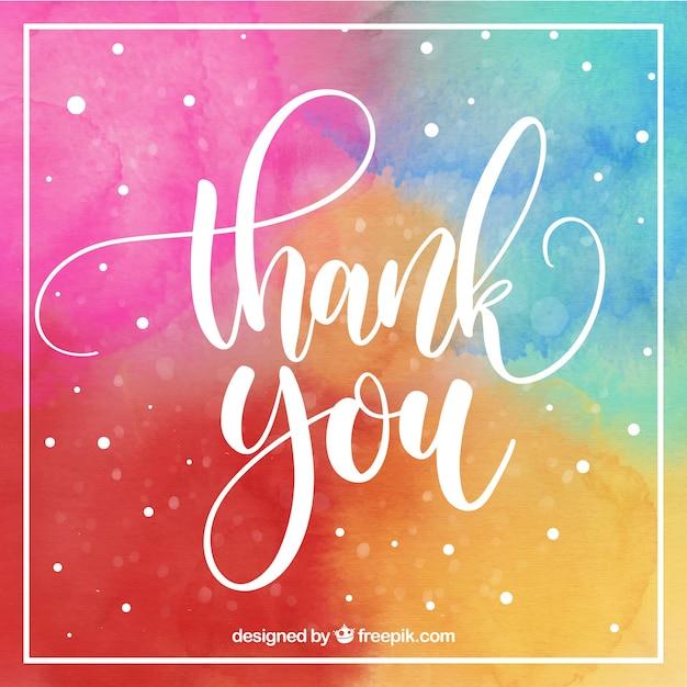 Cartão de agradecimento multicolorido Vetor grátis