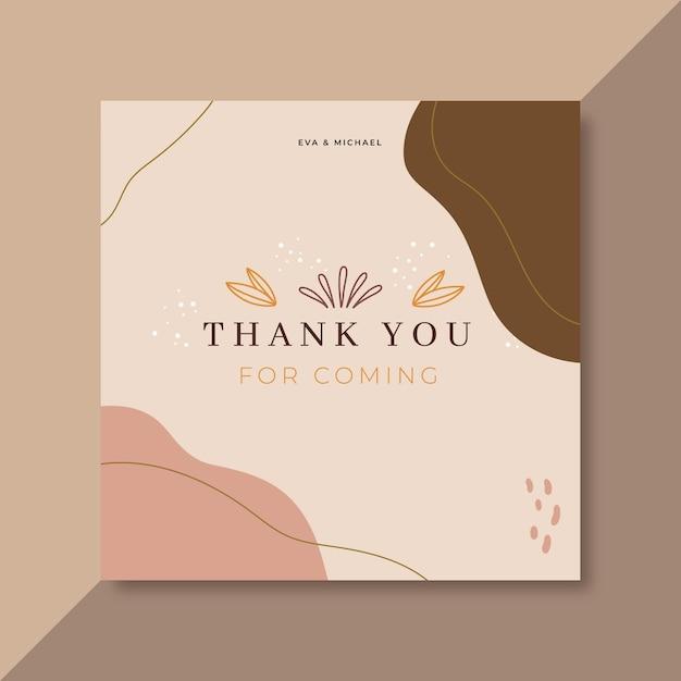Cartão de agradecimento rosa pálido Vetor grátis