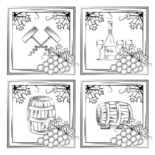 Cartão de álcool de bebida de vinho Vetor Premium