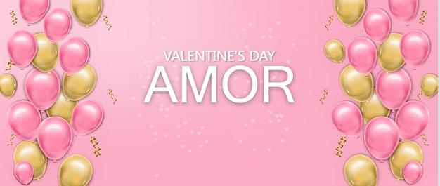 Cartão de amor com balões Vetor Premium