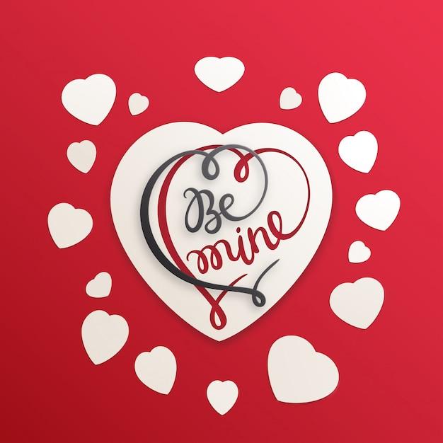 Cartão de amor para o dia dos namorados. seja meu ilustração com papel cortado coração Vetor Premium