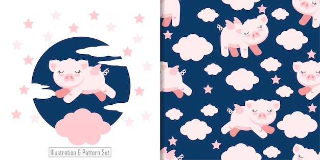 Cartão de ângulo de porco sonolento bonito mão desenhada sem costura padrão definido Vetor Premium
