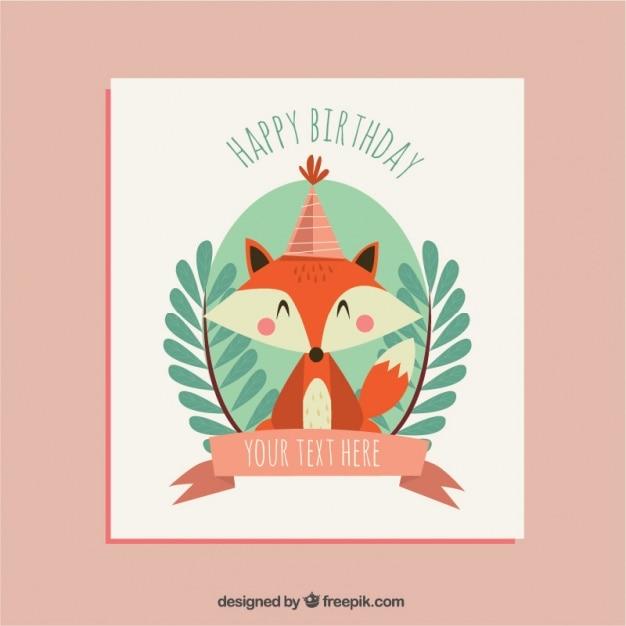 cartão de aniversário bonito com bela foxy Vetor grátis