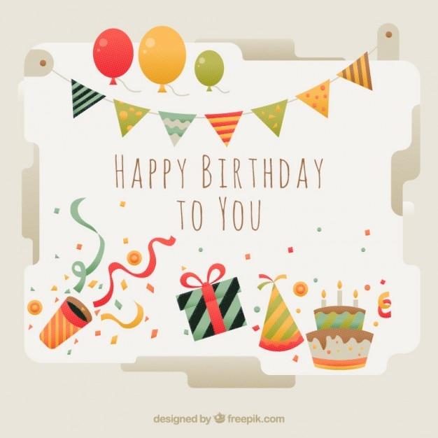cartão de aniversário bonito com elementos Vetor grátis