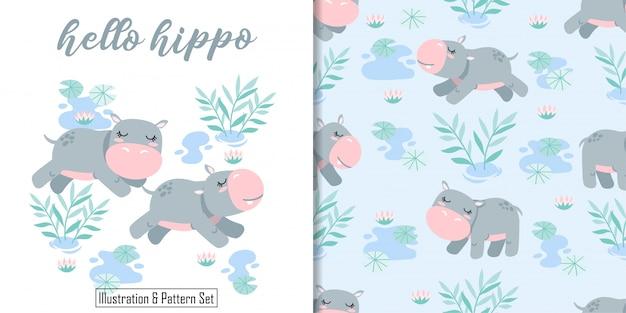 Cartão de aniversário bonito hipopótamo feliz mão desenhada sem costura padrão Vetor Premium