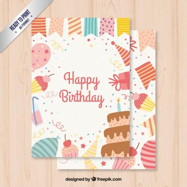 Cartão de aniversário bonito Vetor grátis