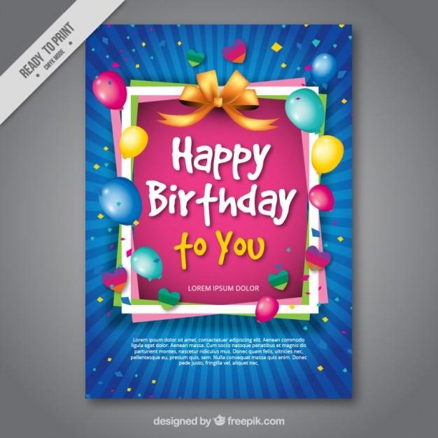 cartão de aniversário colorido Vetor grátis