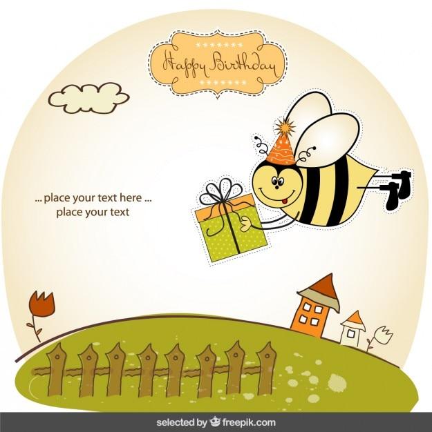 Cartão De Aniversário Com Abelha Engraçada Baixar Vetores Grátis