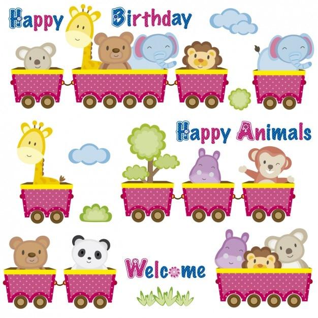 Cartão de aniversário com animais em vagões Vetor grátis