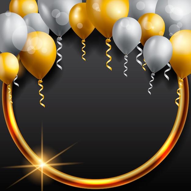Cartão de aniversário com balões Vetor Premium