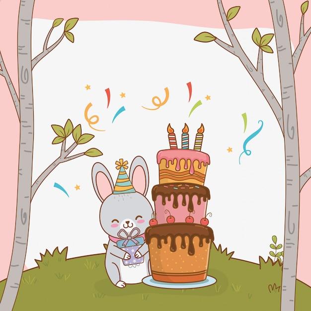 Cartão de aniversário com bosque de coelho fofo Vetor Premium