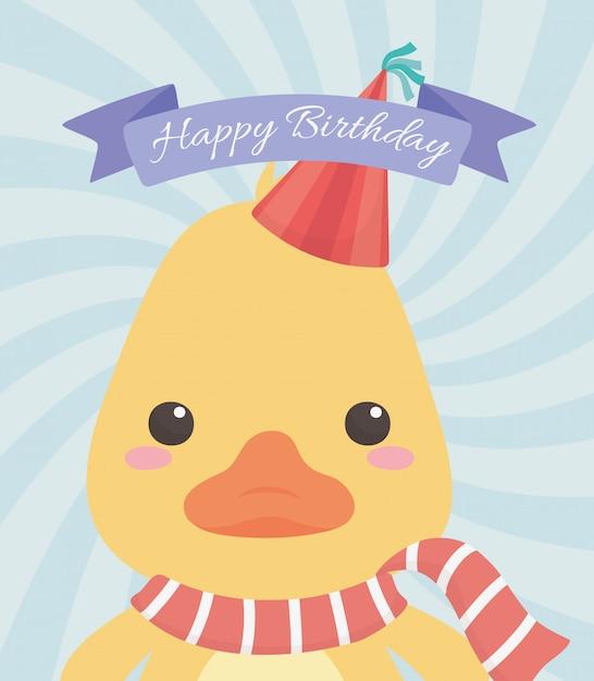 Cartão de aniversário com caráter pequeno pato Vetor Premium