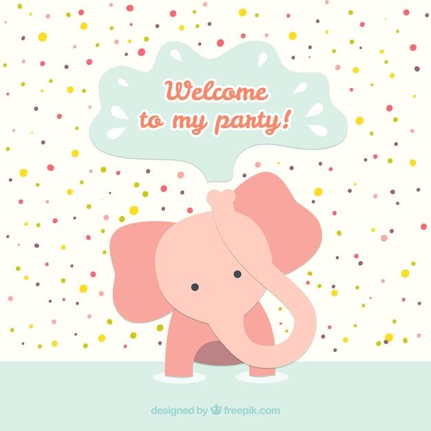 Cartão de aniversário com elefante do bebê Vetor grátis