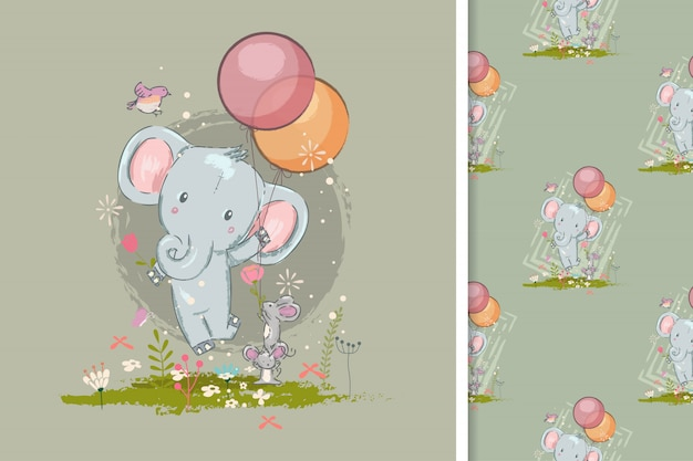 Cartão de aniversário com elefante fofo e padrão sem emenda Vetor Premium