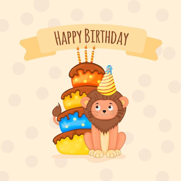 Cartão de aniversário com filhote de leão bonito. estilo dos desenhos animados. ilustração vetorial Vetor Premium