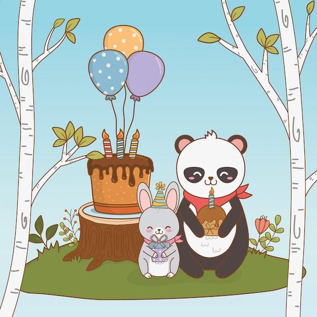 Cartão de aniversário com floresta de animais fofos Vetor Premium