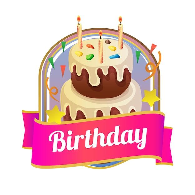Cartão de aniversário com fundo rosa de néon e bolo da torre ... 126e766598bae