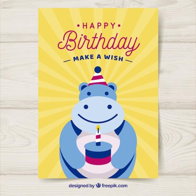 Cartão de aniversário com hipopótamo em estilo plano Vetor grátis