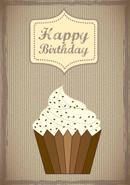 Cartão de aniversário com ilustração em vetor estilo vintage bolo cup Vetor Premium