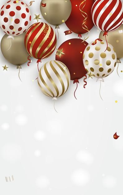 Cartão de aniversário com ouro, balões de ar vermelho 3d e confetes caindo Vetor Premium
