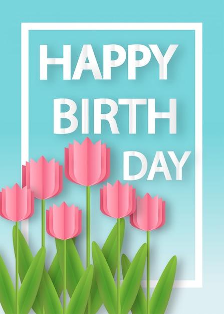 Cartão de aniversário com tulipas em estilo de corte e artesanato de papel. Vetor Premium