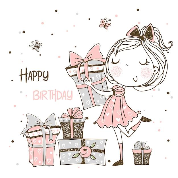 Cartão de aniversário com uma princesa fofa e um grande bolo de aniversário. Vetor Premium