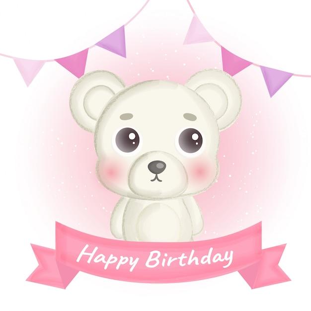 Cartão de aniversário com urso branco fofo Vetor Premium