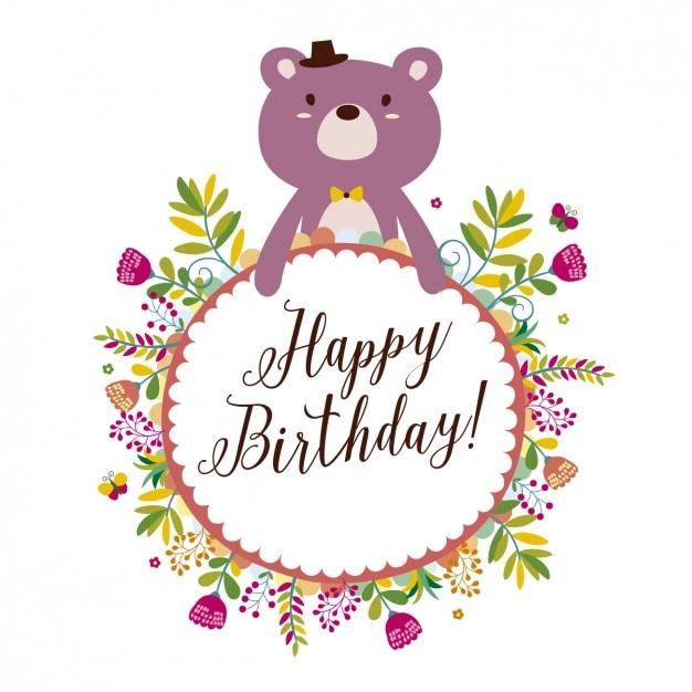 Cartão de aniversário com urso e flores Vetor grátis