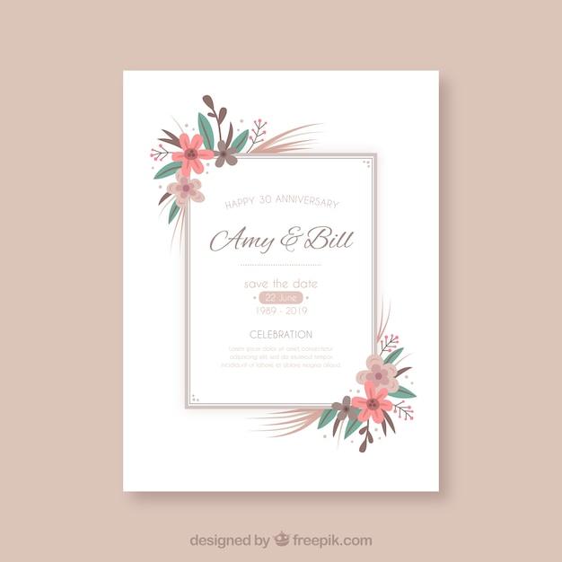 Well-known Cartão de aniversário de casamento com moldura floral | Baixar  VS27