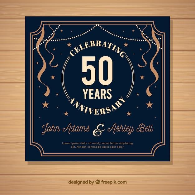 Cartão de aniversário de casamento com ornamentos Vetor grátis