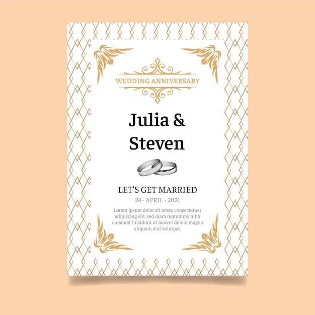 Cartão de aniversário de casamento Vetor Premium