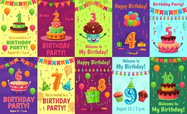 Cartão de aniversário de desenho animado. números de aniversário, convite de comemoração e bolo de festa número velas cartaz conjunto Vetor Premium