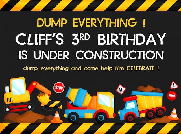 Cartão de aniversário do caminhão da construção Vetor Premium