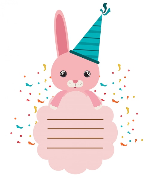 Cartão de aniversário e coelho com festa de chapéu Vetor Premium
