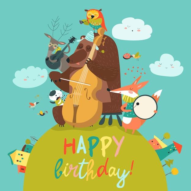 Cartão de aniversário fofo de vetor com animais e música Vetor Premium
