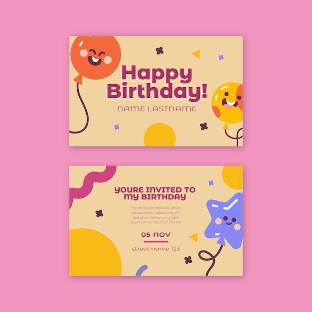 Cartão de aniversário infantil Vetor Premium