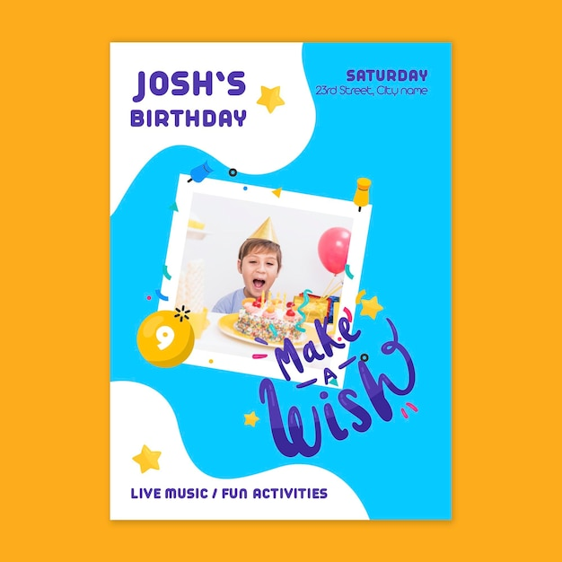 Cartão de aniversário infantil Vetor grátis