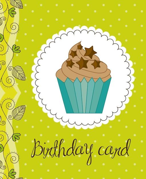 Cartão de aniversário verde com ilustração em vetor bolo cup Vetor Premium