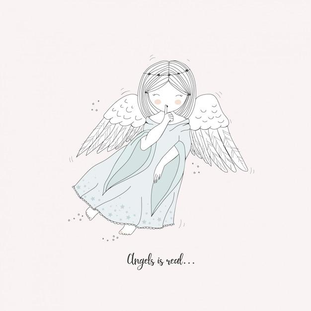 Cartão de anjo bonito mão desenhada Vetor Premium