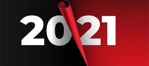 Cartão de ano novo de 2021 com design realista de página em papel Vetor grátis