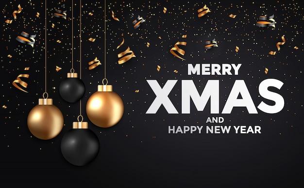 Cartão de ano novo de férias preto e dourado Vetor Premium