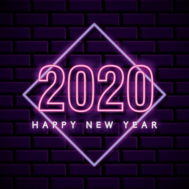 Cartão de ano novo de néon sobre parede de tijolo Vetor Premium