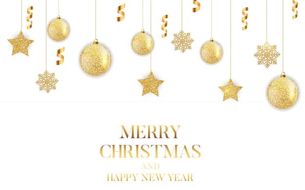 Cartão de ano novo e feliz natal Vetor Premium