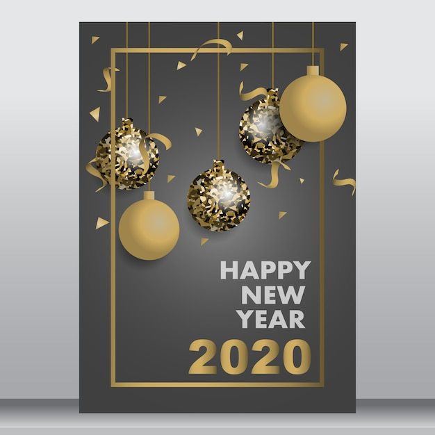 Cartão de ano novo ou cartaz Vetor Premium