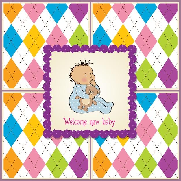 Cartão de anúncio de bebê com menino Vetor Premium
